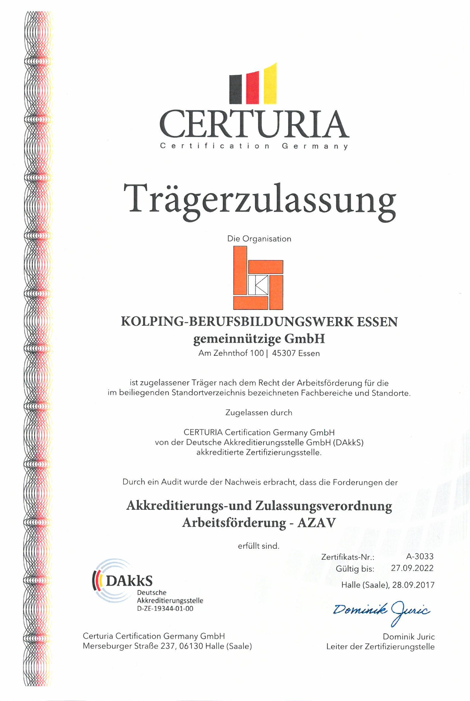 Das Kolping-Berufsbildungswerk Essen Ist Seit Dem 28.09.2017 Erneut Zertifiziert
